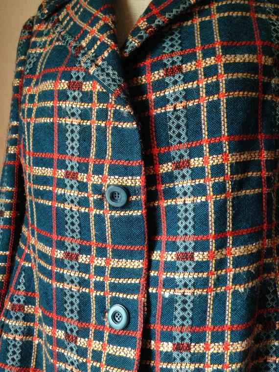 Stunning women's woolen checkered tweed boucle te… - image 6