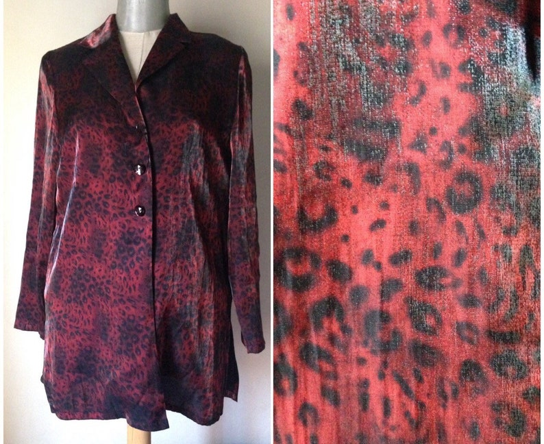 rock n roll Shiny glitter black-burgundy animal print long 80s vintage satiny rockabilly unisex jacket The Cramps gothic rock blazer!
