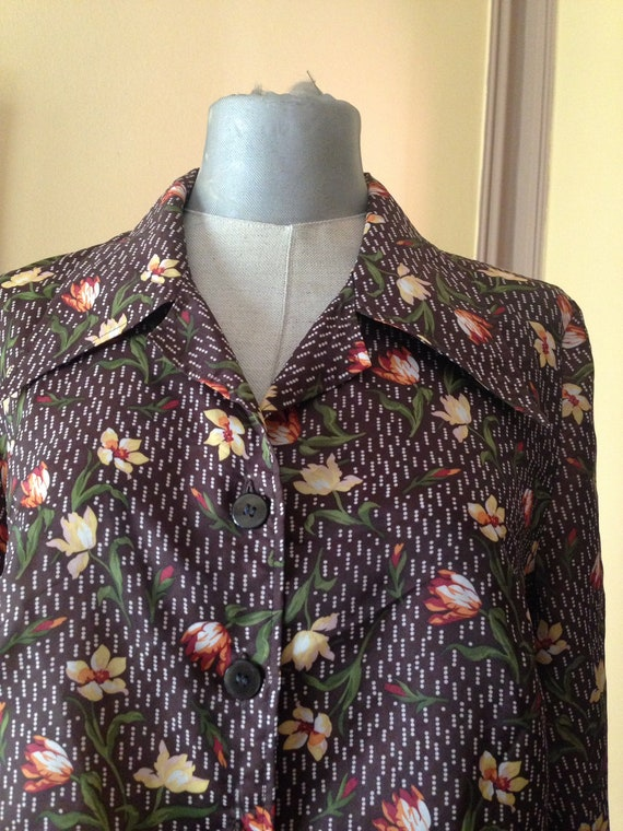 Brown lightweight 70s floral-polka dot buttoned sh