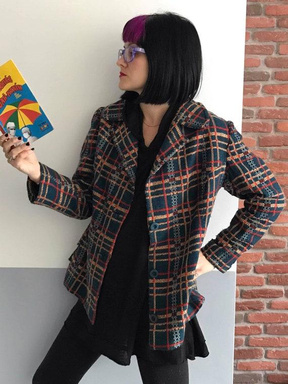 Stunning women's woolen checkered tweed boucle tex