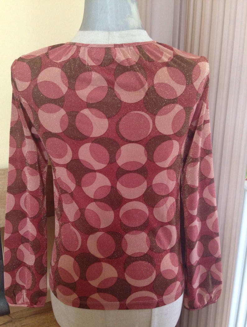Festive sparkly 90/'s vintage STEFANEL blouse with psychedelic 70s shiny-glittery round pattern