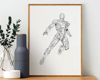 IRON MAN Engraving - Illustration, limited edition Marvel superhero poster