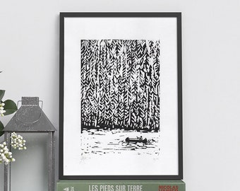 Linogravure FOR LAC CANADA - Limited Edition Illustration