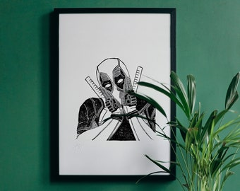 DEADPOOL engraving - Illustration, limited edition Marvel superhero poster
