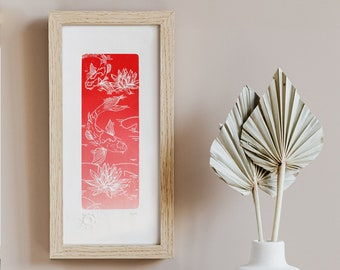 Engraving, illustration of koi carp, Japanese inspiration - Limited Series