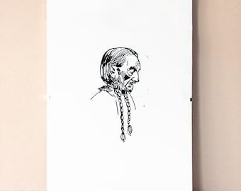 Willie Nelson - linocut A4 - black & white