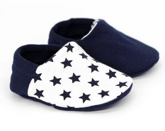 "Babies & minis ""little blue stars""-cute baby shoes with stars in white blue-removable crawl shoes for babies"
