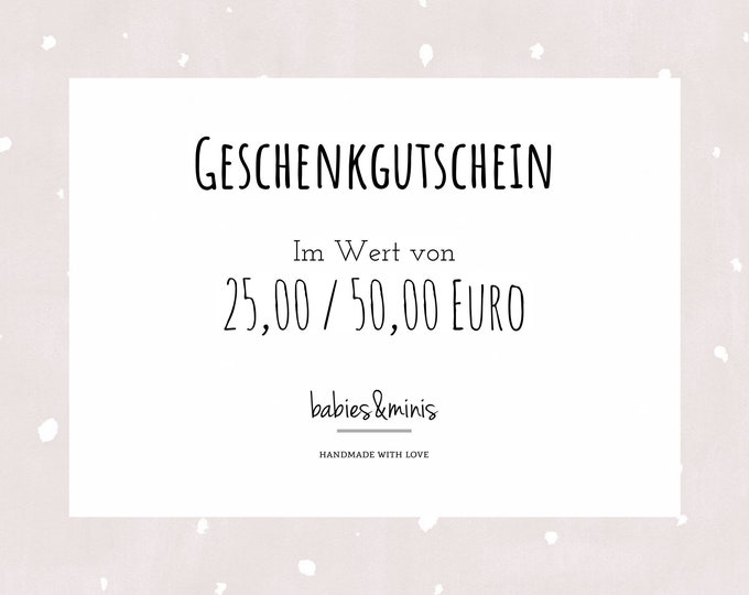 """Featured listing image: babies&minis """"Gift Voucher"""" - digital voucher by email"""