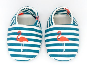 "babies&minis ""Flamingos and Stripes"" - cute fabric baby booties - petrol white striped with neon flamingos - crab shoes babies"