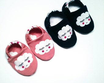 "Babies & minis ""smiley cloud""-sweet baby shoes made of fabric with clouds in pink or blue-crawl shoes for babies up to 1 year"