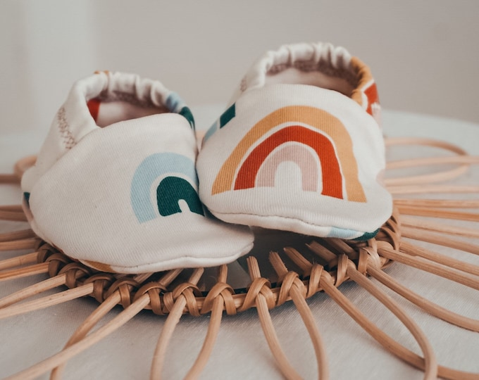 "Featured listing image: babies&minis ""rainbow"" - cute baby booties in organic cotton jersey by elvelyckan design - crawling shoes for babies"