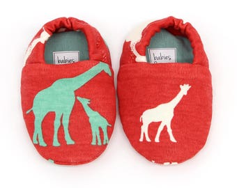 "Babies & Minis ""Giraffe Coral""-Sweet baby shoes from organic jersey interlock by Birch Organic fabric-toddlers for babies up to 1 year"
