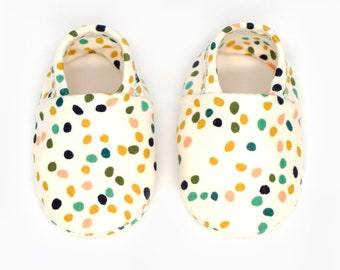 "Babies & Minis ""Firefly dots""-Sweet baby shoes in cream with colorful dots made of organic cotton by birch fabrics-toddlers ' sneakers"