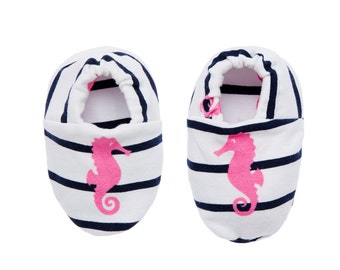 "Babies & Minis ""Seahorse""-Cute baby shoes made of fabric in navy look-blue white striped with pink seahorse-Toddler Shoes"
