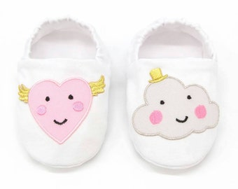 "LIMITED EDITION! babies&minis ""lovelies"" - cute fabric baby shoes with patches - crawler shoes for babies up to 1 year"