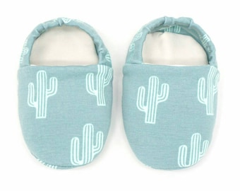 """Babies & Minis """"Mexico""""-Cute baby shoes in cotton jersey with cacti-crawling shoes for babies up to 1 year"""