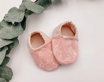 "Babies & minis ""little elephants""-cute cotton jersey baby shoes in pink with elephants-crawl shoes for babies"
