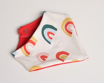 """babies&minis """"rainbows"""" triangular scarf - cute scarf with snap buttons for babies"""