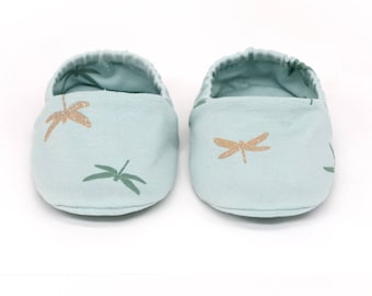 """babies&minis """"Libelle"""" - cute cotton jersey baby booties with glitter - crawling shoes for babies up to 1 year"""
