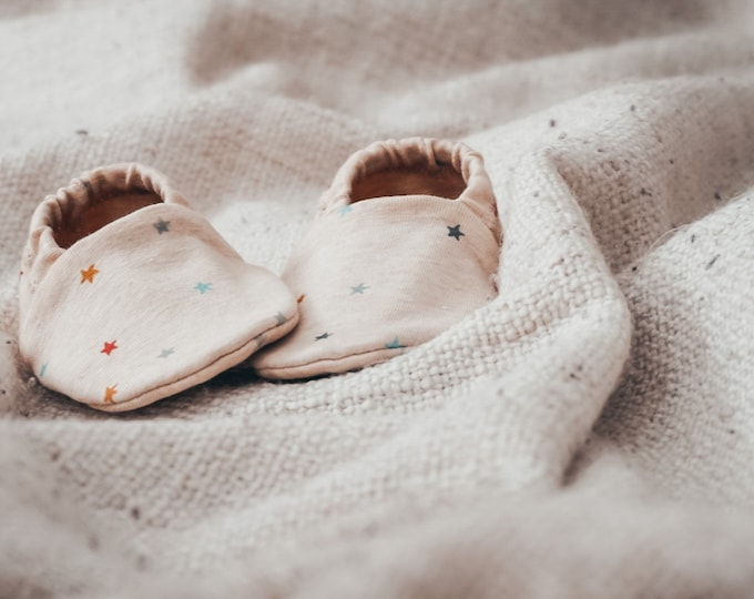 """Featured listing image: babies&minis """"star catcher"""" - cute baby shoes with organic cotton jersey mini starlets by lillestoff - crawling shoes for babies"""