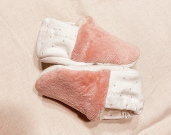 """babies&minis """"rose and dots"""" - baby booties in cotton jersey and nicky fabric"""