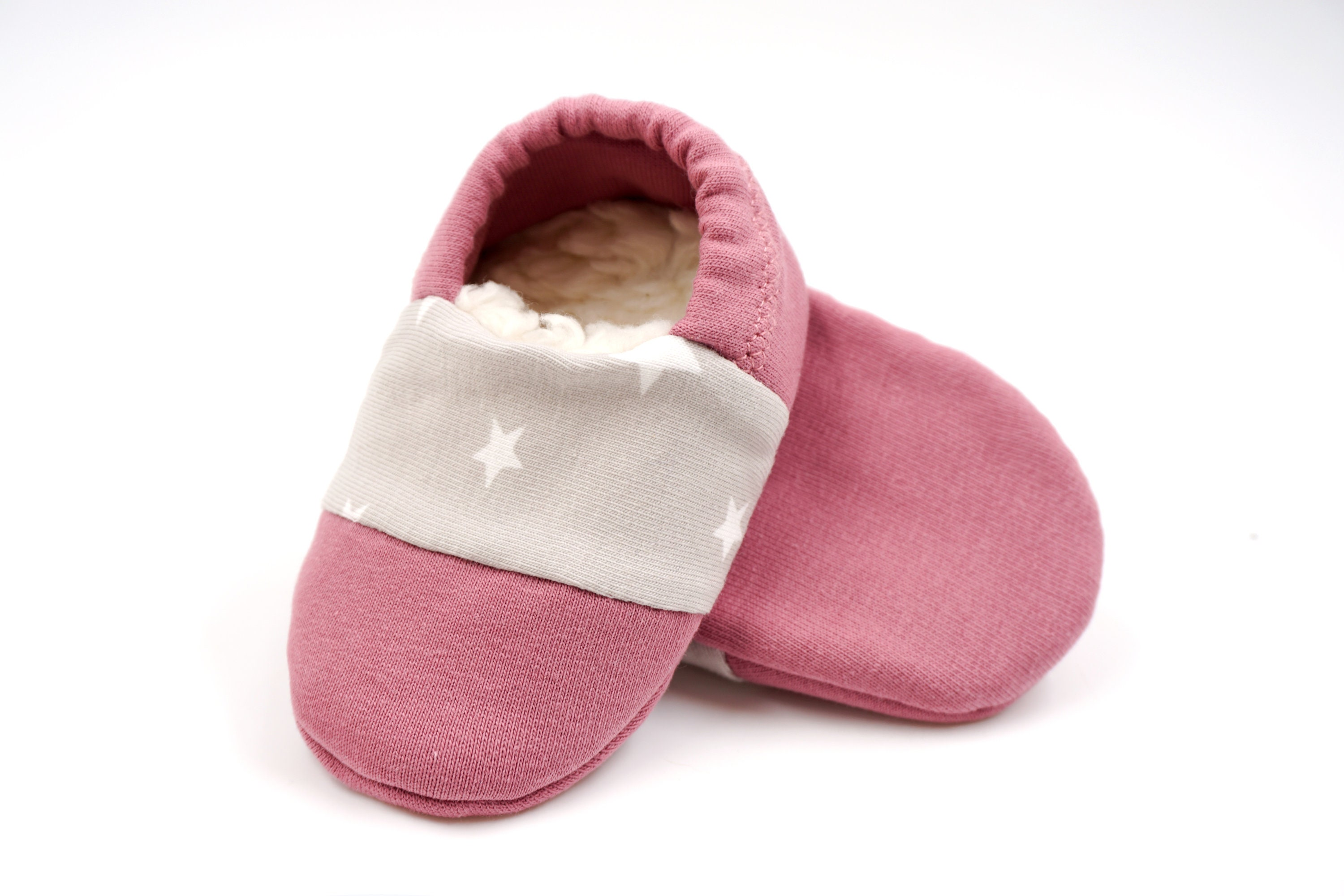 7ba06fdaf49718 Babies   minis   Winter Edition   morning dawn-cute baby shoes made of  fabric with stars in old pink with lined sole-crawl shoes