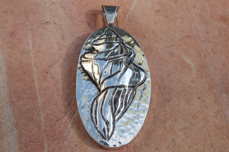 Sterling Shell Pendant with Chasing and Repousse  Sterling Silver   Southwestern Jewelry  Gift Woman  Boho Jewelry Sale