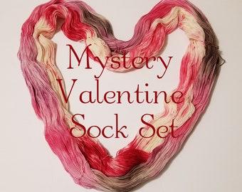 Mystery Valentine's Sock Kit, Mystery yarn, Mystery Valentine's Yarn,  Hand Dyed Yarn, Sock Yarn, Merino, Nylon,