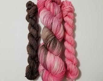 DTO - Tainted Love Sock Set, Hand Dyed Yarn, Indie Dyed Yarn, Sock Yarn, Shawl yarn, Knitting, Crochet, Merino, Nylon,