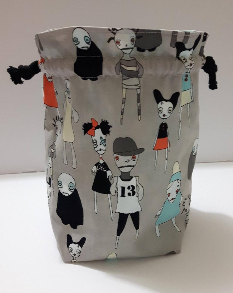 Cotton Bag Art Supply bag, Makeup Bag Zombie Wasteland Drawstring Project Bag Drawstring Bag Toiletry Bag Crochet bag Knitting Bag
