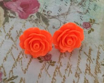Vintage Boho Rose Carved Orange Neon Earrings