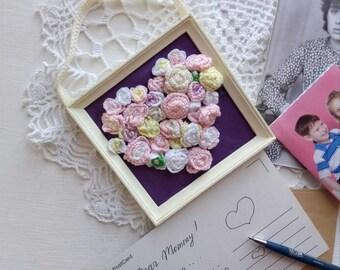 Mothers Day Crochet Picrture Crochet Flowers Heart Crochet Miniature Roses Picture Romantic Flowers Wall Decor Crochet Rustic Wall Decor