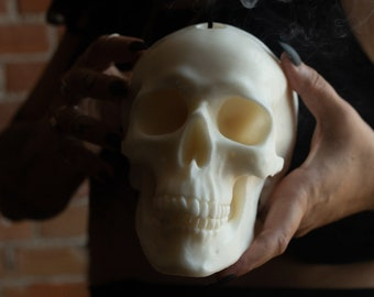 Human Size Skull Candle White