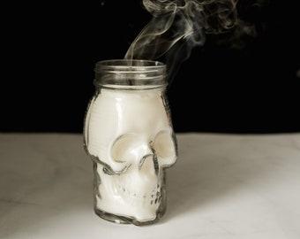 Glass Skull Mason Jar Candle
