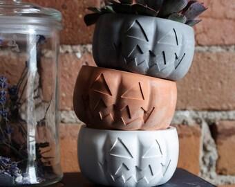 Pumpkin Planter / Pumpkin JackOLantern Dish Catch All / Halloween Planter