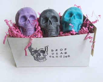 World Buyers Set of 4 Assorted Colored Skull Candles