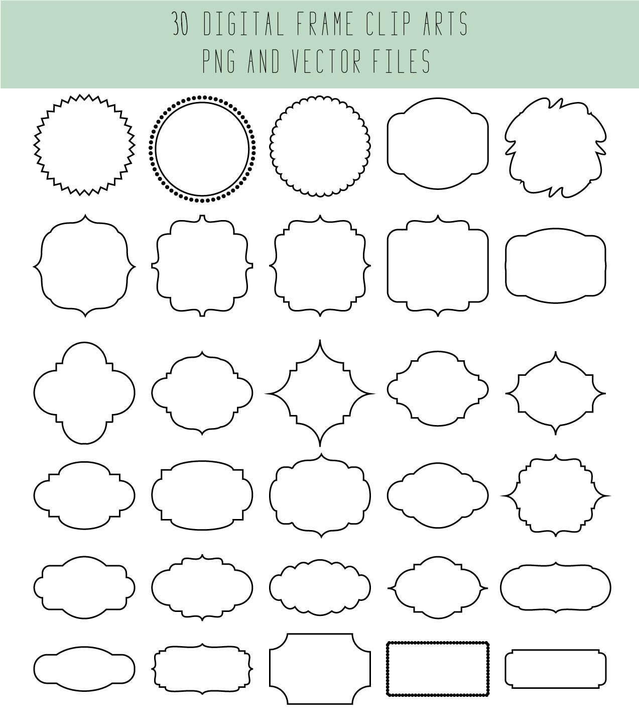Clip Art Rahmen / Vektor Rahmen / schwarz und weiß / Hochzeit   Etsy