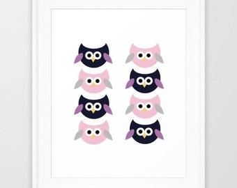 Cute owl print / Owl illustration / Cute owl illustration / Baby owls Print / Nursery print / Digital Print / Home decor / Digital paper