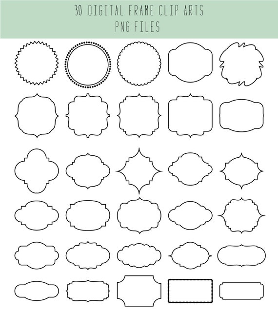 Clip Art Frames / Wedding label / Black and clear / Wedding | Etsy