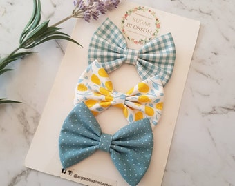 Hair Accessories Baby headbands Fabric bows Girls headbands Headband Set Set of 3 pink /& green hair bows Sugar Blossom