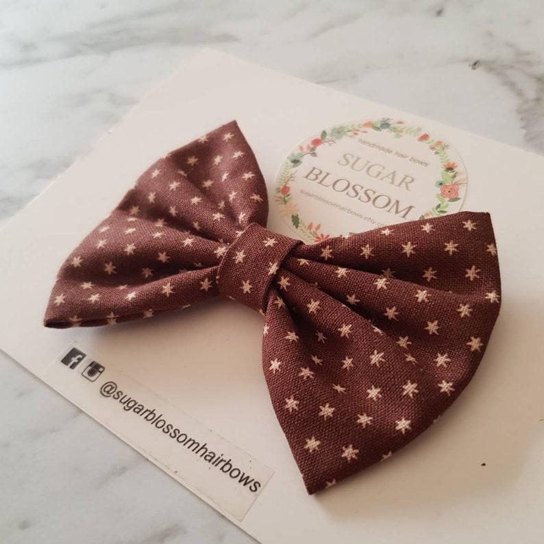 Hair clip Brown Mini Stars Printed Classic Hair Bow Baby headband Fabric bow Girls headband Large  Small 50/% OFF