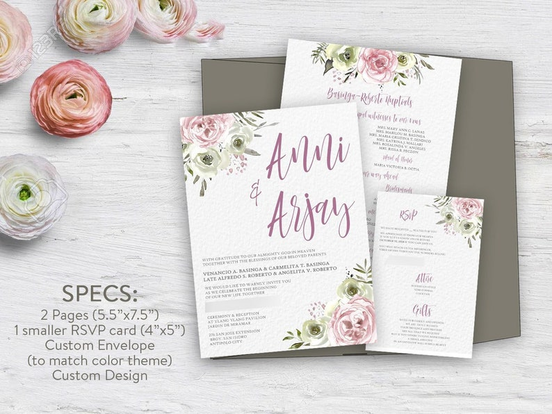 White And Blush Watercolor Flowers Wedding Invitations Etsy