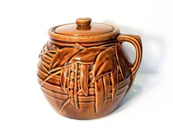 Brown Peapod Handle Bean Pot, Cookie Jar by BigMuddyVintageShop p