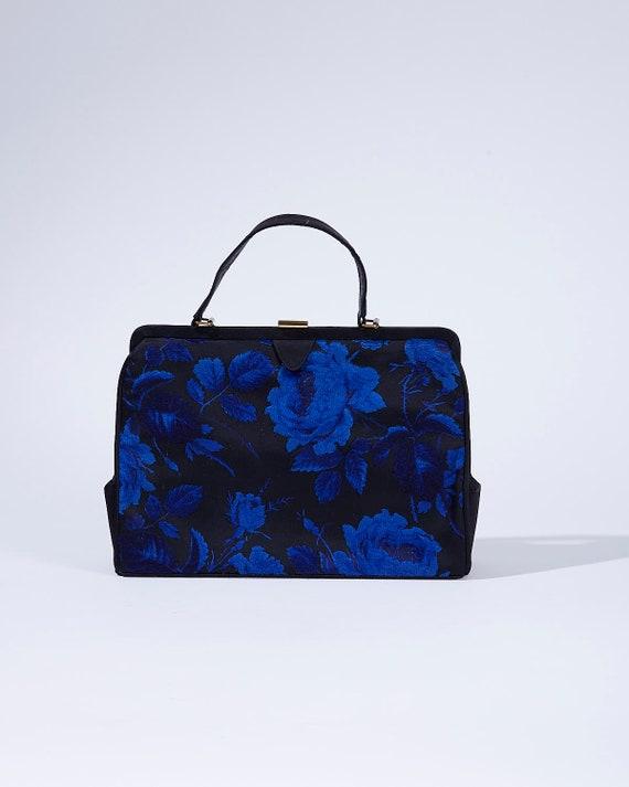 Royal Blue Floral Carpet Bag