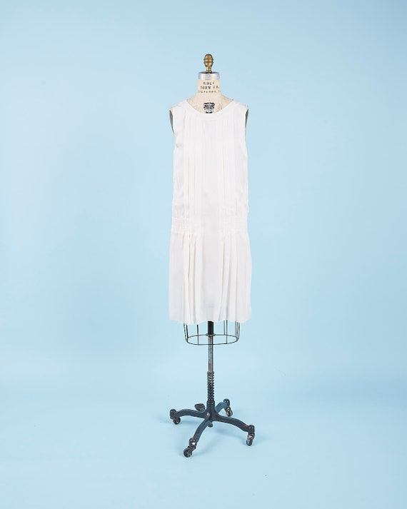 White Chanel Silk drop waist Dress
