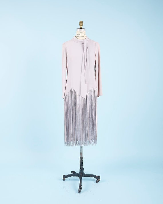 Lavender Fringe Dress pussy bow