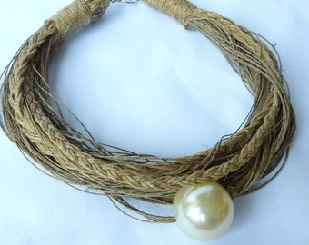 Just one Pearl Linen Necklace Boho Necklace Christmas Gift