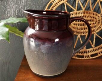 large stoneware ceramic pitcher - purple, gray - vintage pitcher - vintage glazed stoneware - serving water pitcher - vintage pitcher jug