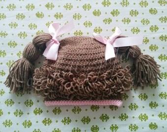 Handmade Crochet Baby Girl's Cabbage Patch Hat