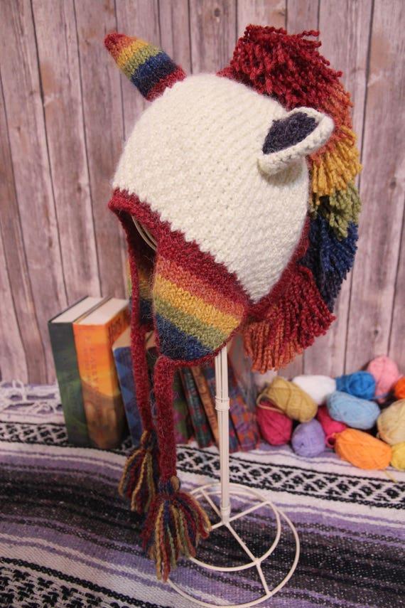 Unicorn Rainbow Hand knitted Hat Ear warmer Snowboarding  5ae6e700b34f